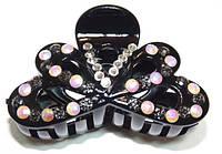 Заколка для волос краб, черный, белые и розовые хамелеон стразы 144_4_83a1