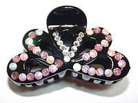 Заколка для волос краб, черный, белые и розовые стразы 144_4_83a3