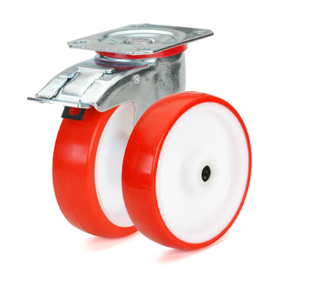 Колеса с диском из полиамида-6 и красным полиуретаном. Нагрузка 150 - 550 кг. t -15/+80С. Серия 42