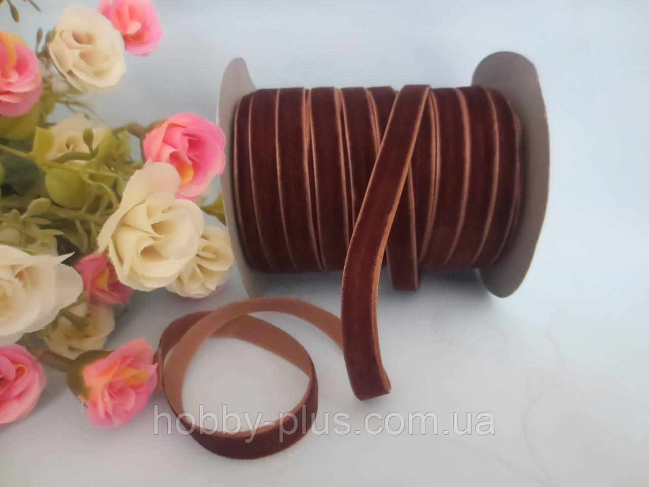 Лента бархатная, 1 см, цвет коричневый