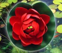 Цветок Лотоса декоративный плавающий 10 х10х5 см(водяная лилия)красный