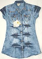 Джинсовая удлиненная рубашка-туника на 3 года