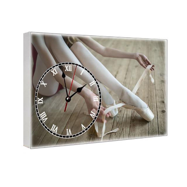 Часы на холсте с принтом Балерина 29х41 см