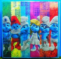 Салфетки праздничные Смурфики Smurfs 10 штук лицензионные