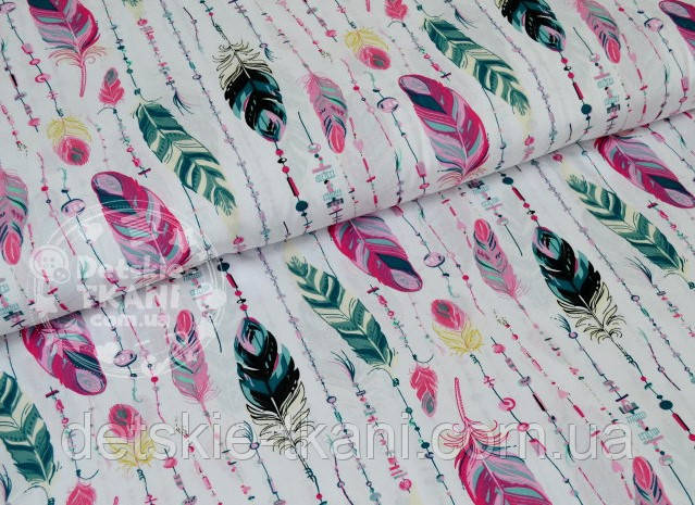 """Отрез ткани №630а бязь, расцветка """"Перья с бусинами"""" в розово-серых тонах, размер 88*160"""