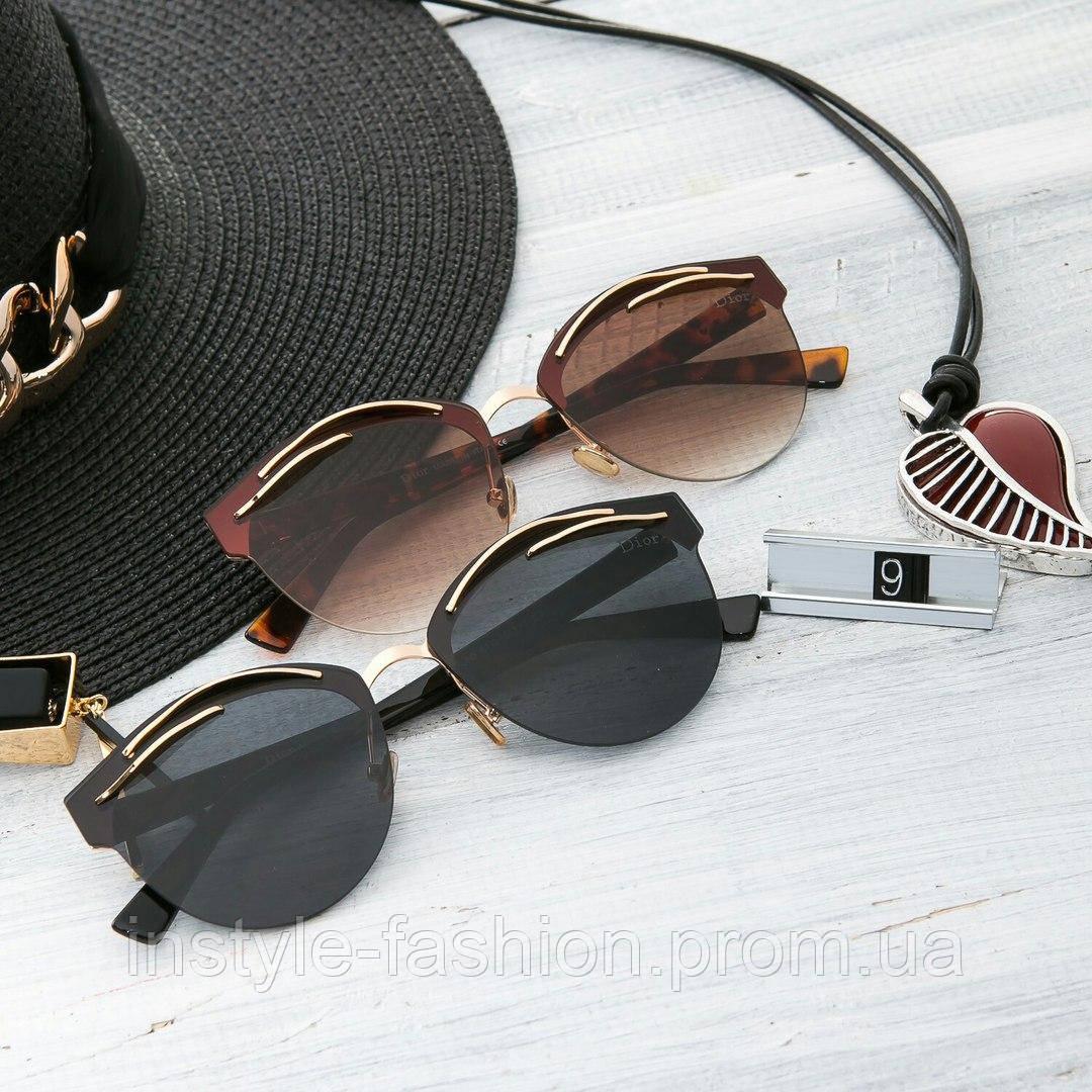 Женские брендовые стильные очки копия Диор реплика черные, коричневые