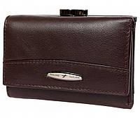 Компактный женский кожаный кошелек коричневого цвета с внешней металлической рамкой Tailian (16110)