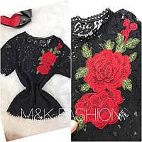 Женская модная гипюровая блуза с вышивкой