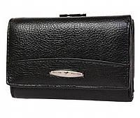 Компактный женский кожаный кошелек в черном цвета с внешней металлической рамкой Tailian (16111)