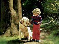 Рисование по номерам. Дети 40х50см, Ребенок дает палку собаке (MG1040)