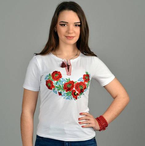 Белая футболка на короткий рукав с вышивкой Роксолана, фото 2