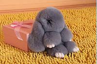 Брелок меховой кролик Рекс из натурального меха 12 см