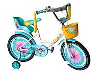 """Велосипед двухколёсный Azimut Girls 14"""" дюймов с корзинкой+сиденье для куклы, бирюзовый"""