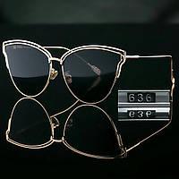 Женские брендовые стильные очки копия Диор реплика черные, фото 1