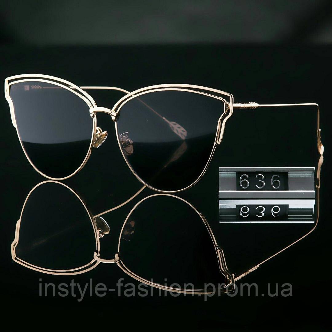 Женские брендовые стильные очки копия Диор реплика черные