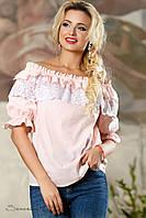 Женская летняя нежная блуза с кружевами розовая
