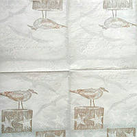 Салфетка декупажная 25x25см 21 Птица на пеньке