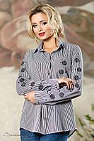Женская лёгкая рубашка в полоску с вышивкой