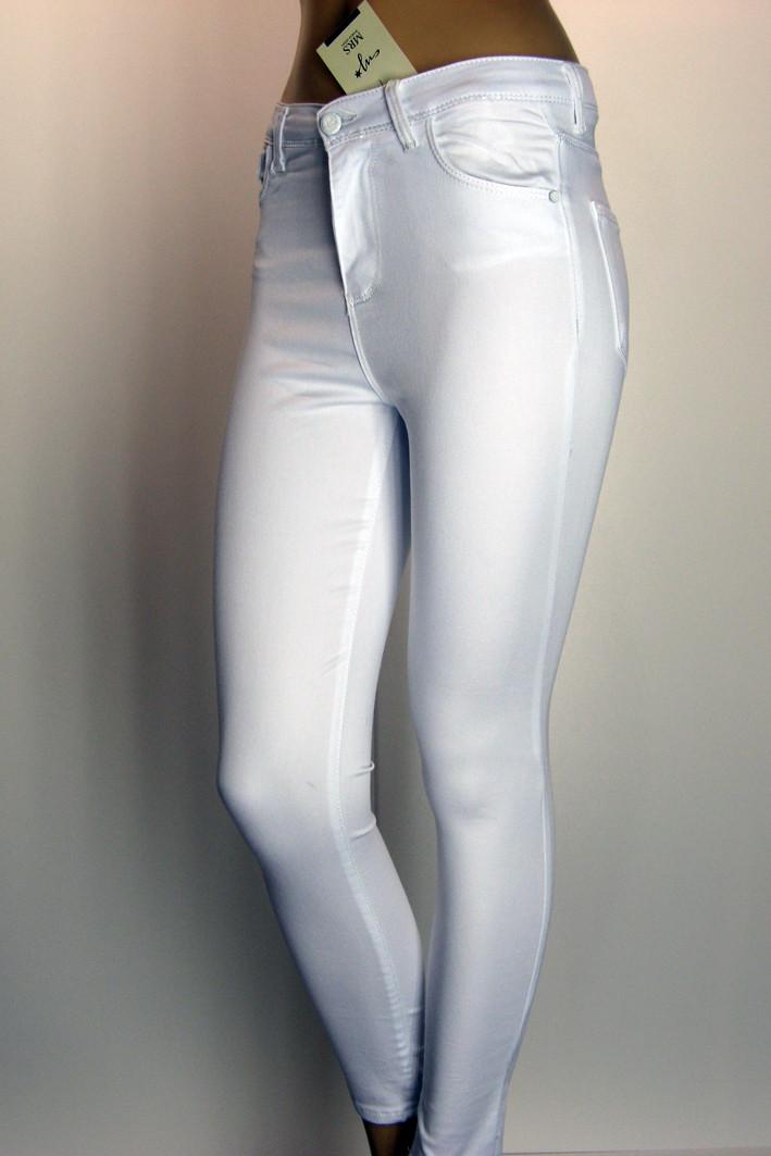 Білі жіночі джинси з високою посадкою  із знижкою