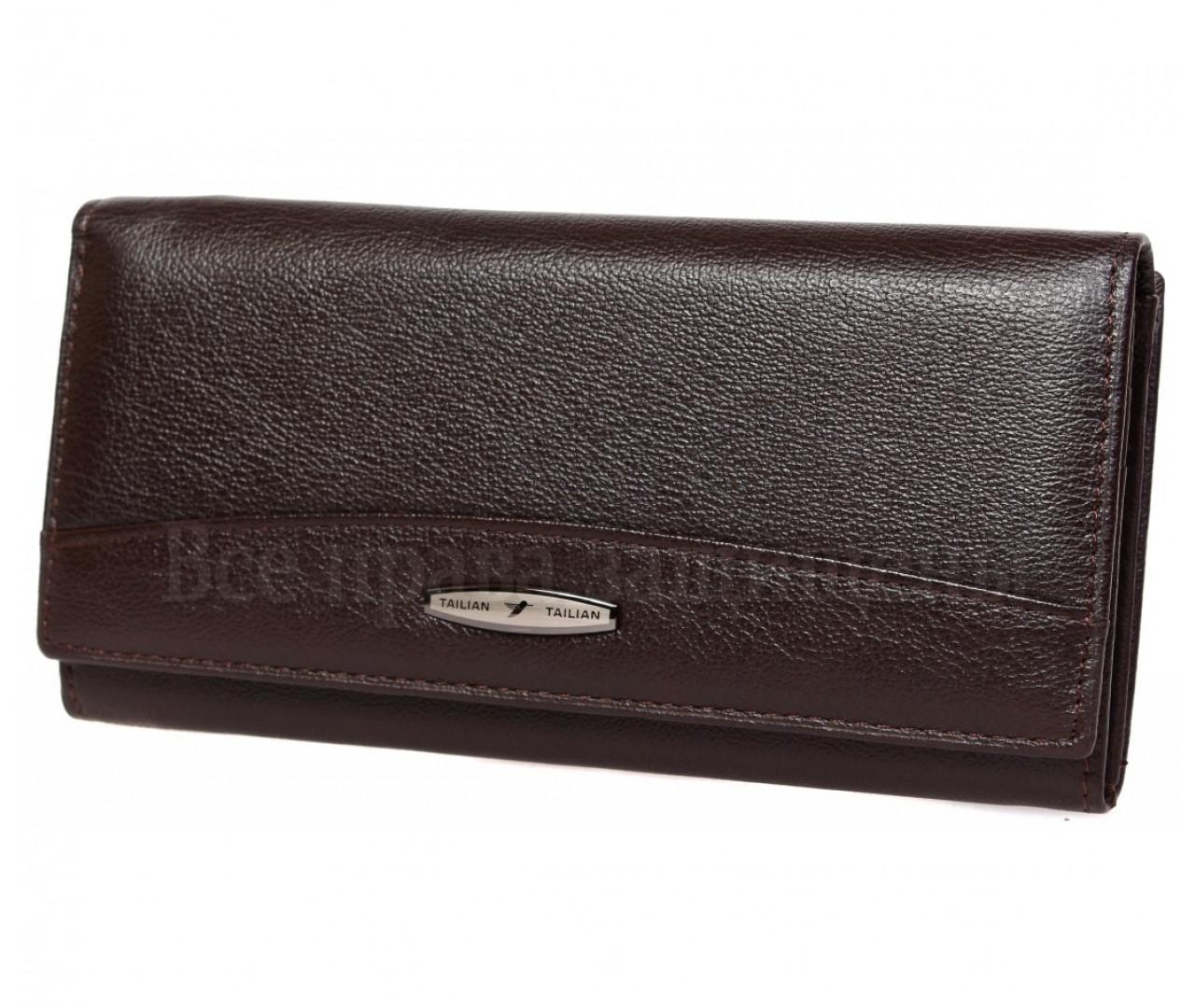 2ab7598dd1e8 Кожаный женский кошелек в темно коричневом цвете с внешней монетницей -  Tailian (16113) -