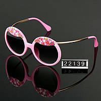 Женские стильные очки Hend Made круглые с цветами цвет розовый
