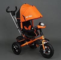 Трёхколёсный велосипед оранжевый Best Trike с родительской ручкой надувные колёса поворотное сидение фара