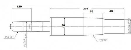 Пневмопатрон (газлифт) хромированный с завышенным конусом Уценка!!!, фото 2