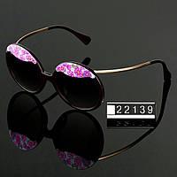 Женские стильные очки Hend Made круглые с цветами цвет черный