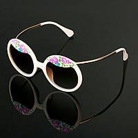Женские стильные очки Hend Made круглые с цветами цвет бежевый