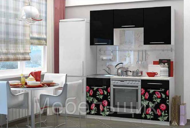 """Кухня """"Маки"""" 1,6м МДФ с фотопечатью"""