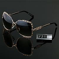 Женские стильные очки Hend Made квадратные черные в золотой оправе