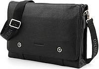 Кожаная мужская сумка мессенджер для документов А4 Tofionno 02003 черная