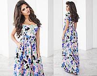 Женское летнее платье макси с цветочным принтом в разных цветах