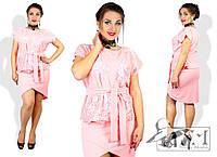 Стильный женский костюм двойка (Блузка +Юбка) для пышным дам