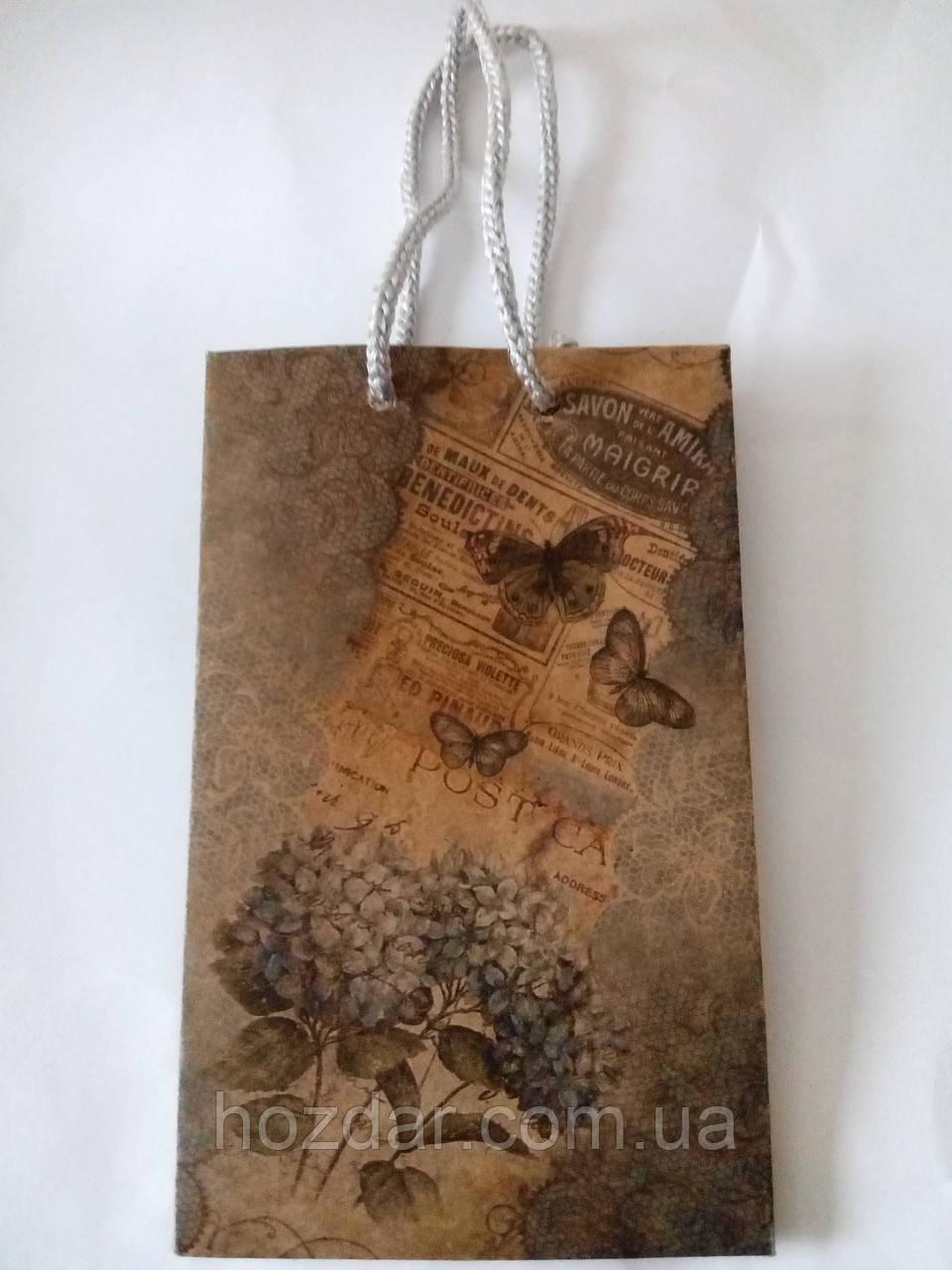 Пакет подарочный бумажный крафт малый 11х18х6 (21-002)