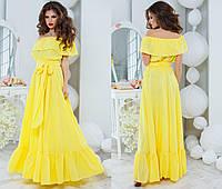 Женское летнее платье макси с открытыми плечами в разных цветах + большой размер