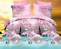 Комплект постельного белья полуторный с лебедями
