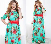 Женское длинное шифоновое платье больших размеров с цветочным принтом