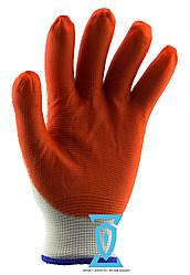 Перчатки рабочие стрейчевые  покрытые гладким латексом (оранж/син)