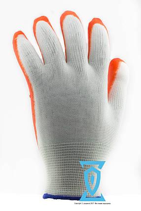 Перчатки рабочие стрейчевые  покрытые гладким латексом (оранж/син), фото 2