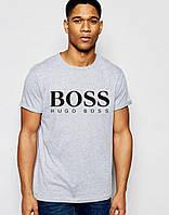 Футболка мужская серая Boss Босс (большой принт)