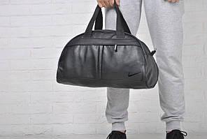 Сумка спортивная черная искусственная кожа Найк Nike  (РЕПЛИКА)