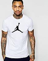 Мужская футболка  белая Jordan Джордан (большой принт)