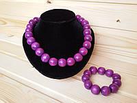 Бусы с браслетом из деревянных бусинок 22 мм, фиолетовые