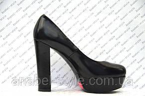 Туфли  на толстом устойчивом каблуке черного цвета, фото 2