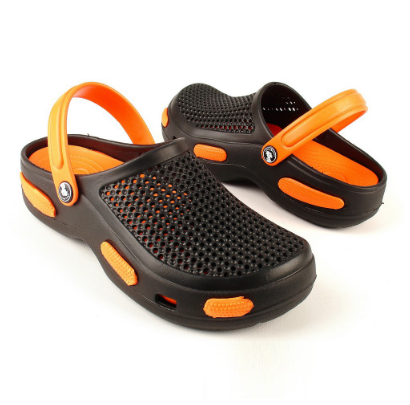 Мужские сабо черно-оранжевые (Код: Муж Сабо JA)