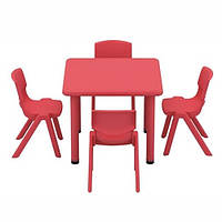 Детский столик со стульчиками B0203-3 регулируемая высота (красный)