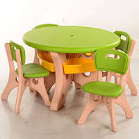 Детский столик со стульчиками BAMBI B0301 пластик (зелено-бежевый)