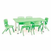 Детский столик со стульчиками TABLE1-5 регулируемая высота (зеленый)
