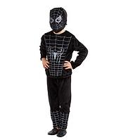 """Детский карнавальный костюм для мальчика""""Человек - паук черный""""велюр"""